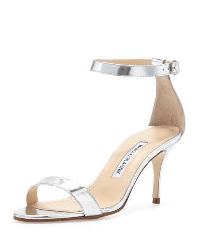 Manolo Blahnik Chaos Ankle-Strap Sandal, Silver