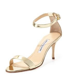 Manolo Blahnik Chaos Metallic Ankle-Wrap Sandal, Gold