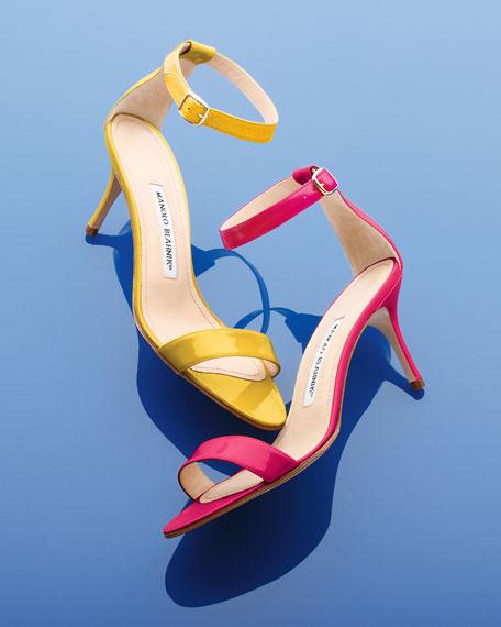 Chaos Ankle-Wrap Sandal, Fuchsia