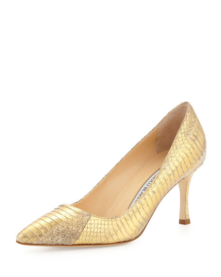 Manolo Blahnik BB 70mm Low-Heel Snake Pump, Gold