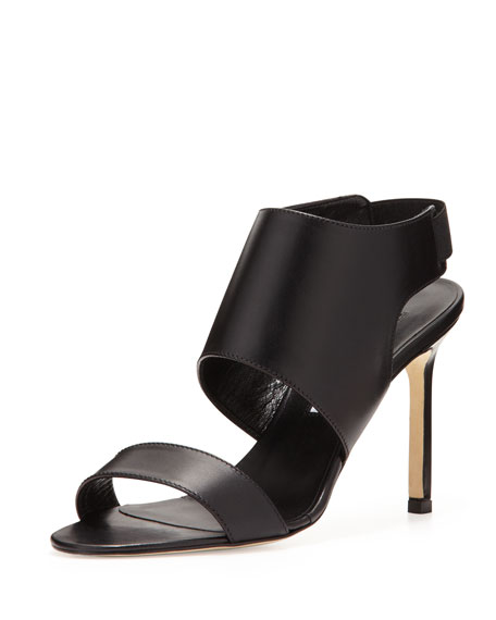 Open-Toe Elastic Slingback Sandal, Black