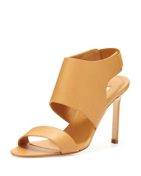 Open-Toe Elastic Slingback Sandal, Beige