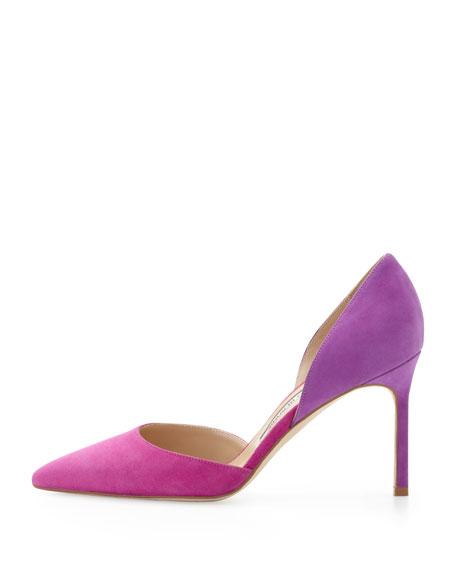 Manolo Blahnik Tayler Bicolor Suede d'Orsay, Fuchsia/Purple