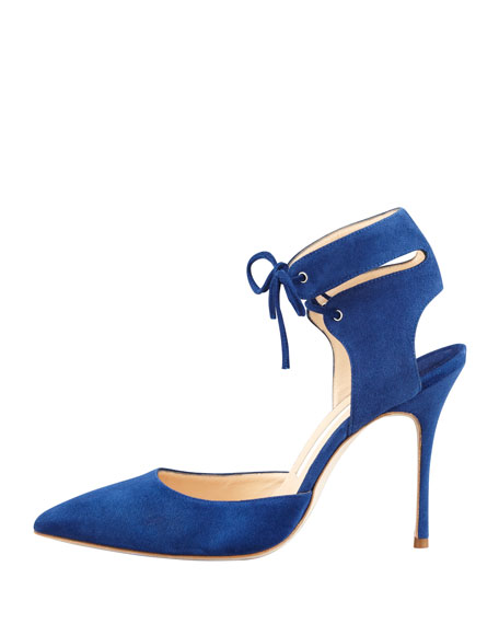 Lara Suede Laced-Ankle Pump, Blue