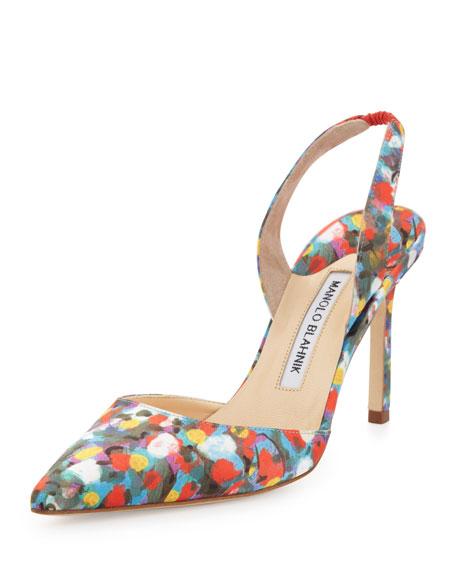 Carolyne Floral-Print High-Heel Halter Pump, Multicolor