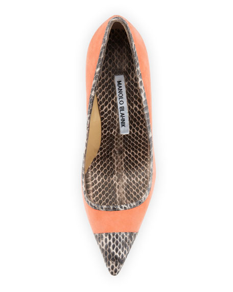 Bottera Snake-Trim Suede Pump, Peach