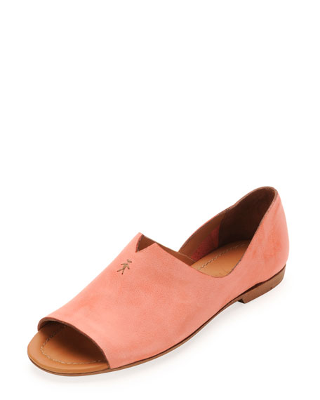 Open-Toe Leather Moccasin