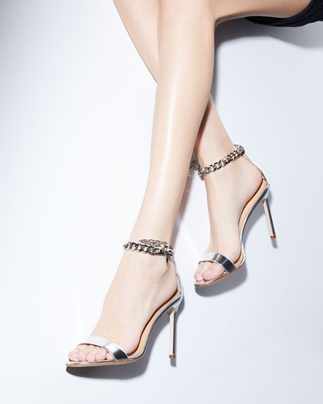 Chaos Metallic Chain-Wrap Sandal