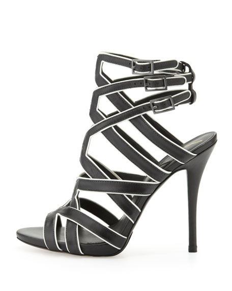 Carbinia Triple-Buckle Cage Sandal, Black/White