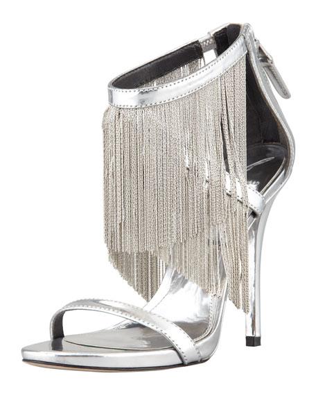 Condessa Fringe Sandal, Silver