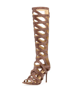 B Brian Atwood Ethanna Snakeskin Cage Boot
