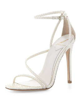 B Brian Atwood Labrea Corded Snakeskin Sandal, White