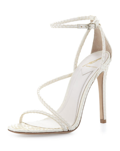 Labrea Corded Snakeskin Sandal, White
