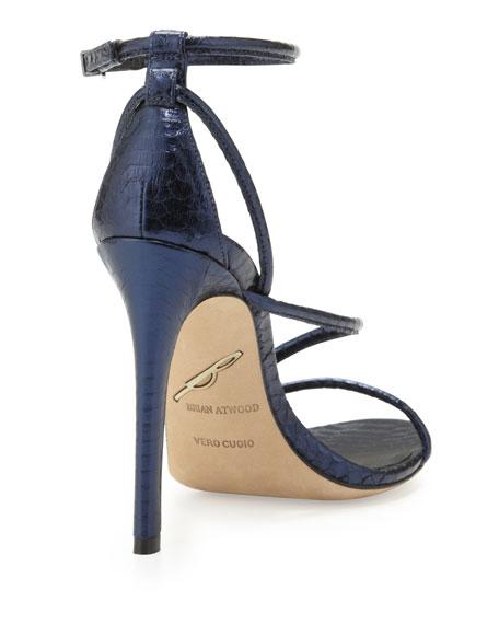 B Brian Atwood Labrea Metallic Snake Sandal, Navy