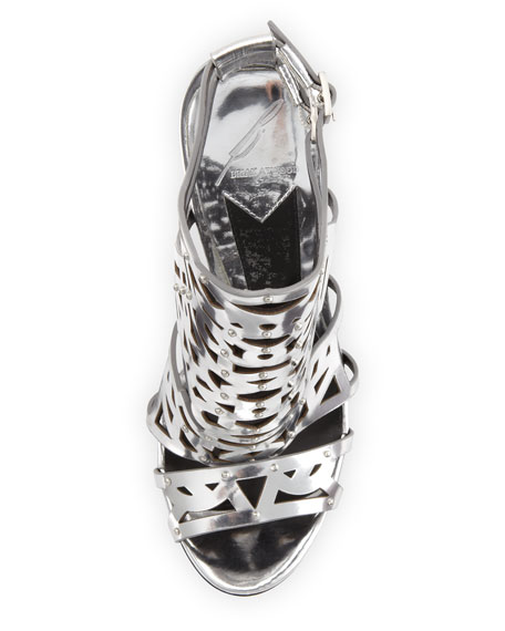Laconica Mirrored Laser-Cut Cage Sandal, Silver