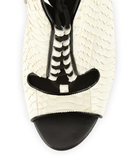 Lodosa Lace-Up Snake Sandal, White/Black