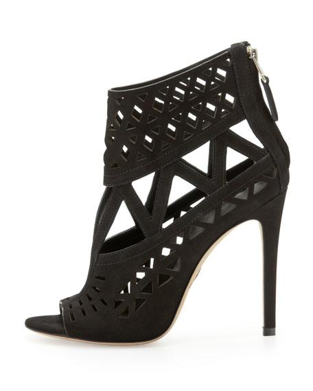 Levens Suede Cutout Sandal, Black
