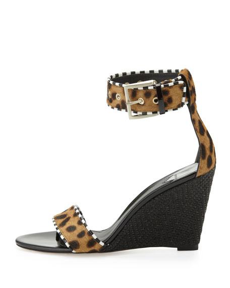 Sabinas Leopard-Print Ankle-Wrap Wedge