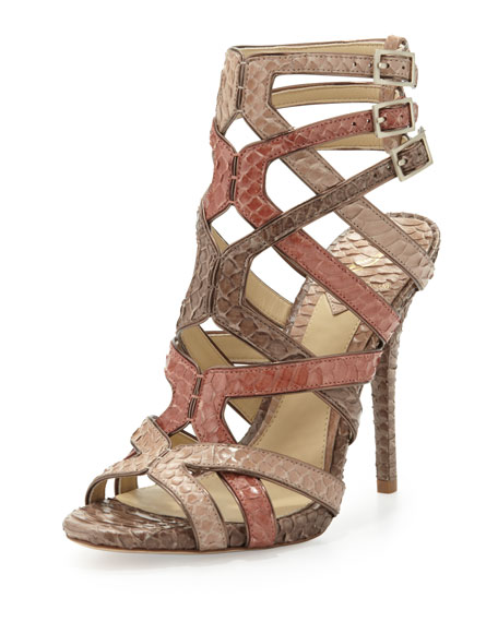 Carbinia Triple-Buckle Snake Cage Sandal