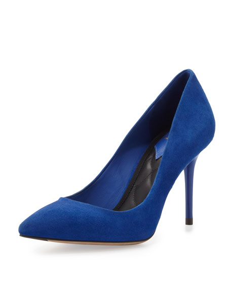 Malika Suede Pointed-Toe Pump, Majorelle Blue