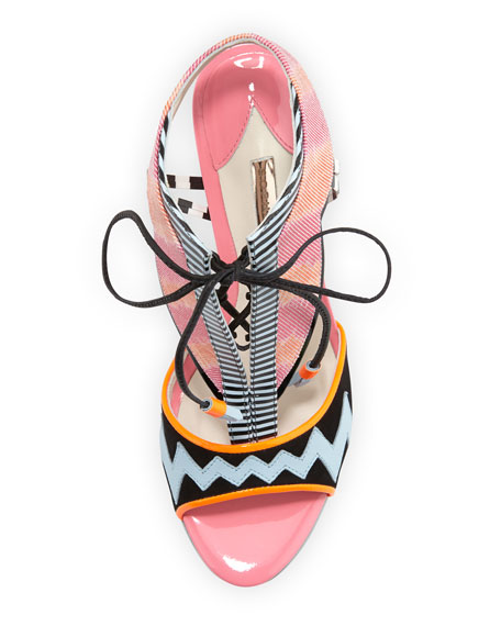 Leilou Mixed-Print Combo Sandal, Pink