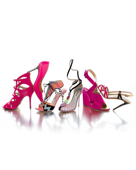 JoJo T-Strap Ankle-Wrap Sandal, Pink/Multi