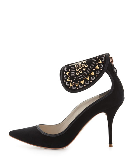 Leandra Suede Ankle-Collar Pump, Black