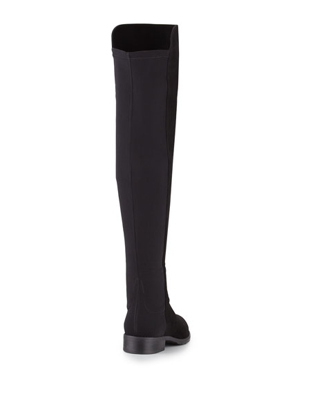 50/50 Narrow Suede Over-the-Knee Boot, Black