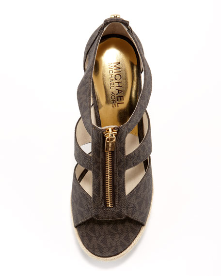 Damita Logo Zipper Wedge Sandal