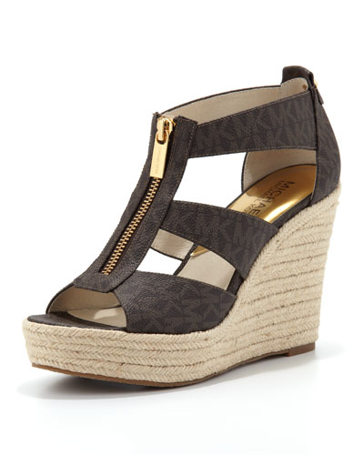 MICHAEL Michael Kors  Damita Logo Zipper Wedge Sandal