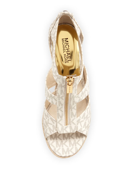 Damita Logo Zipper Wedge Sandal
