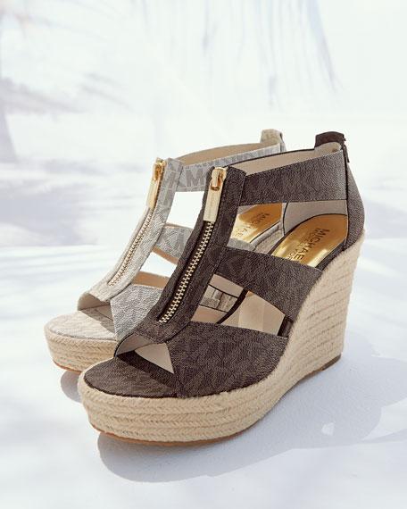 a8b38e0a96c MICHAEL Michael Kors Damita Logo Zipper Wedge Sandal