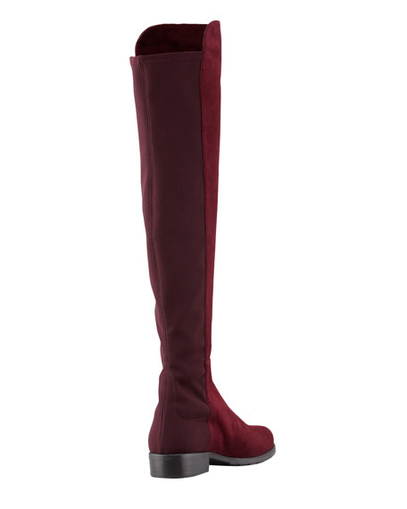 50/50 Wide Suede To-the-Knee Boot, Bordeaux