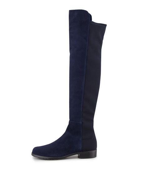 50/50 Narrow Suede Stretch-Back Knee Boot, Blue