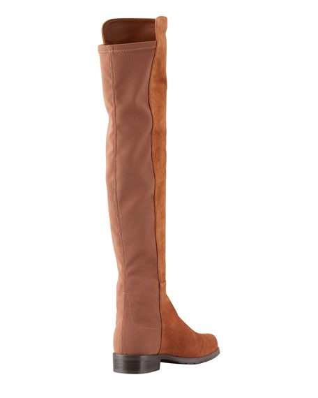 50/50 Wide Suede Stretch-Back Knee Boot, Cuero