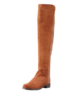 Stuart Weitzman 50/50 Wide Suede Stretch-Back Knee Boot, Cuero
