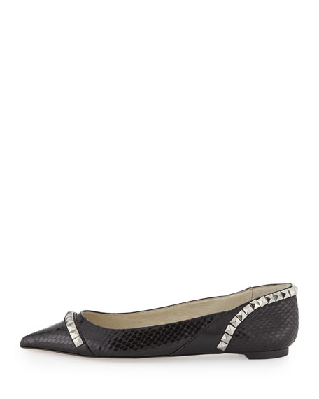 Ella Pointed-Toe Studded Flat, Black