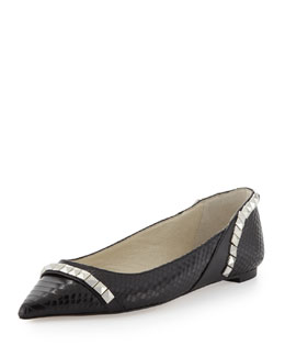 MICHAEL Michael Kors  Ella Pointed-Toe Studded Flat, Black