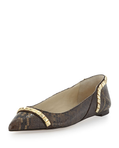 Ella Pointed-Toe Studded Flat, Chocolate