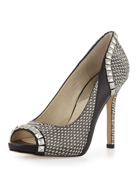 Snake-Embossed Studded Pump
