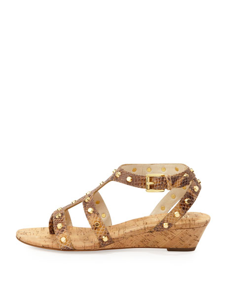 Jolie Snake-Print Studded Low Wedge