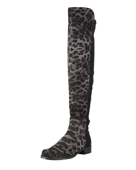 50/50 Wide Leopard-Print Suede Over-the-Knee Boot, Smoke