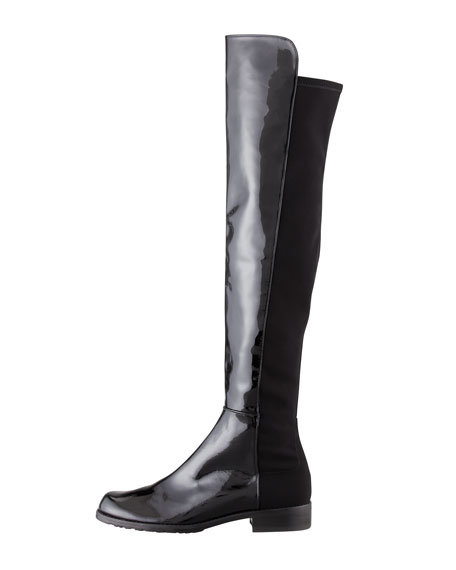 50/50 Wide Patent Leather Knee Boot, Black