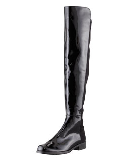 Stuart Weitzman 50/50 Wide Patent Leather Knee Boot, Black