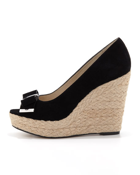 Meg Suede Bow Wedge Sandal