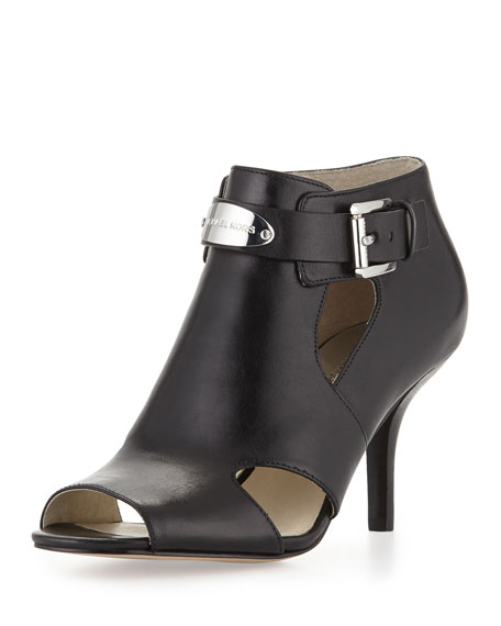 Logo-Plate Leather Bootie