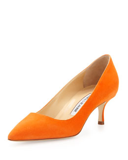 Manolo Blahnik BB Suede 50mm Pump, Orange
