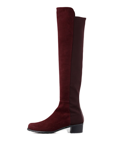 Reserve Narrow Suede Stretch-Back Over-the-Knee Boot, Bordeaux