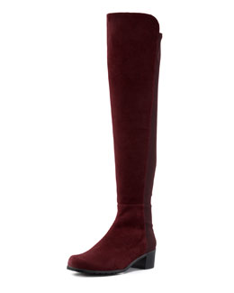 Stuart Weitzman Reserve Wide Suede Over-the-Knee Boot, Bordeaux