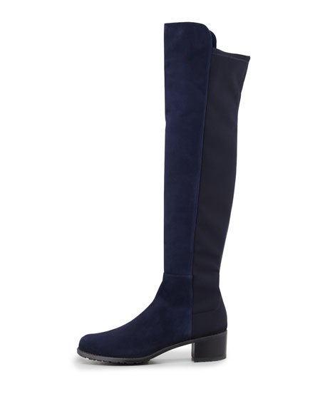 Reserve Wide Suede Stretch Over-the-Knee Boot, Nice Blue